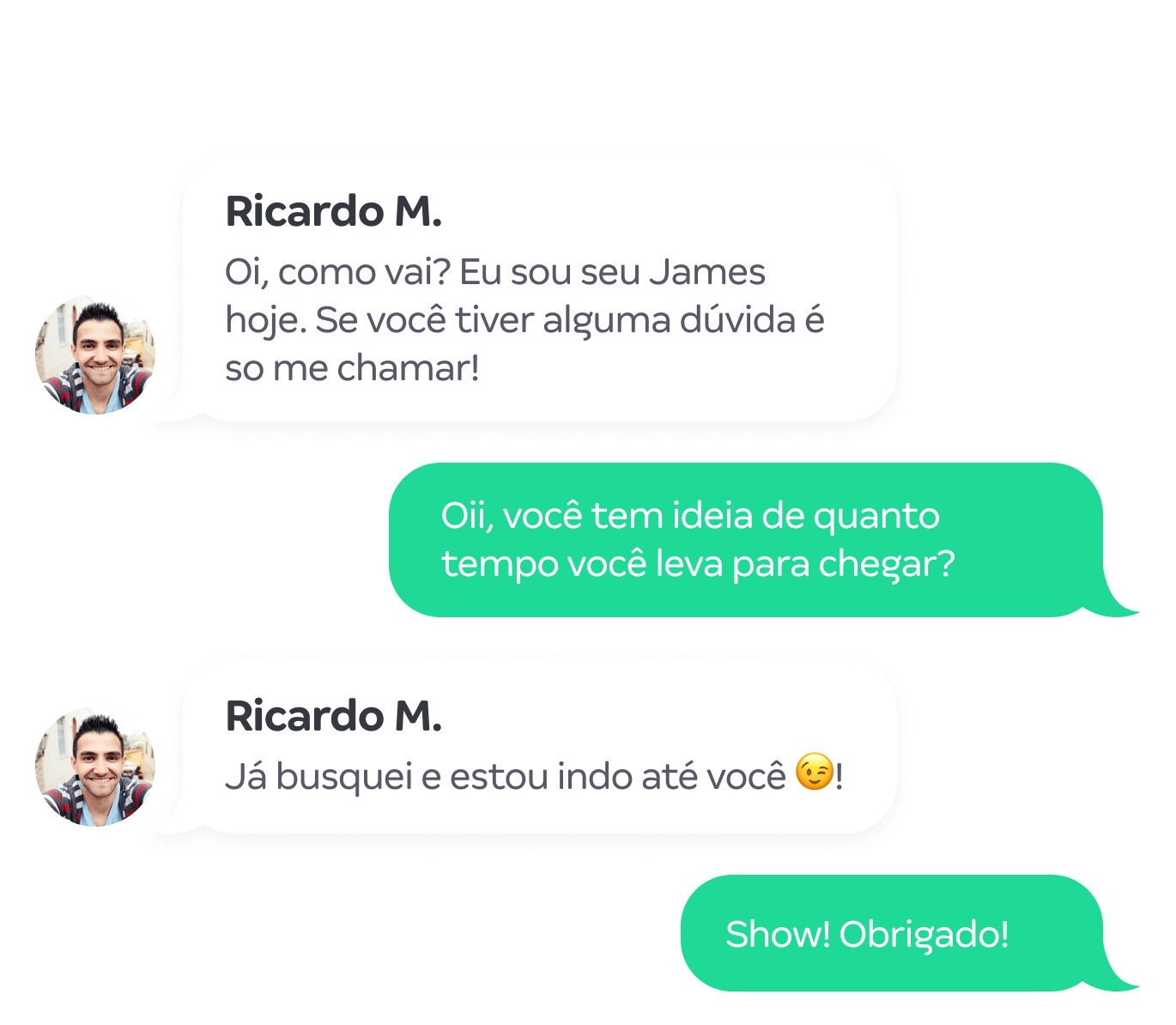 Chat de bate-papo com o entregador do James